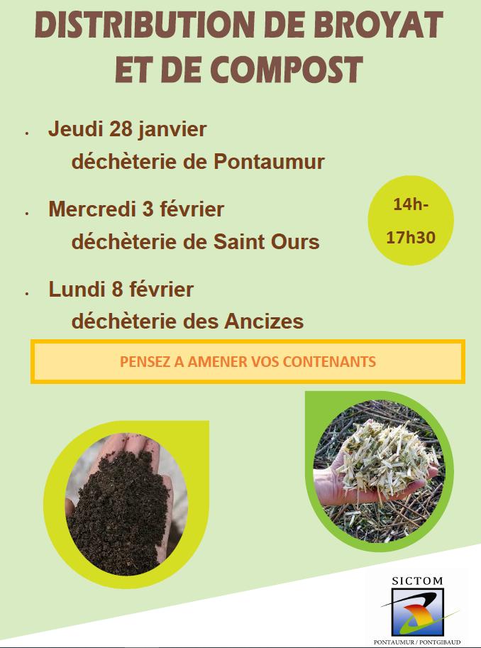 Distribution de broyat et compost