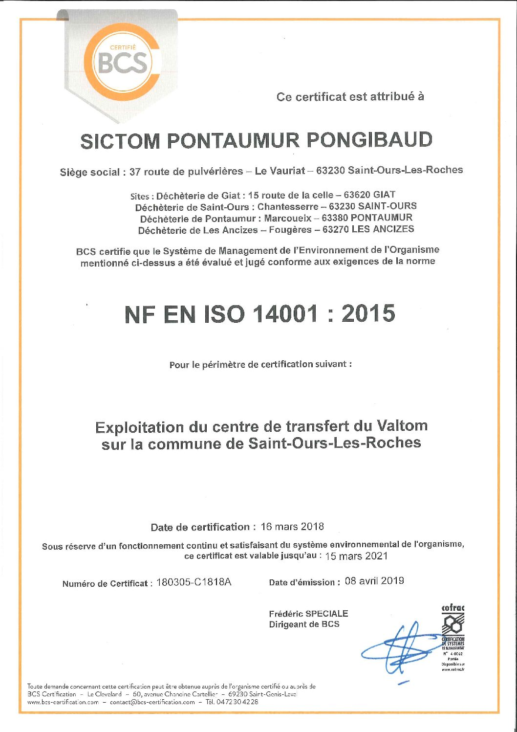 Certification ISO 14 001